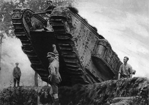 (pc060845) British tank in World War I. Credit: © The Illustrated London News Picture Library