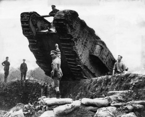 British Tank Rolling over Trench